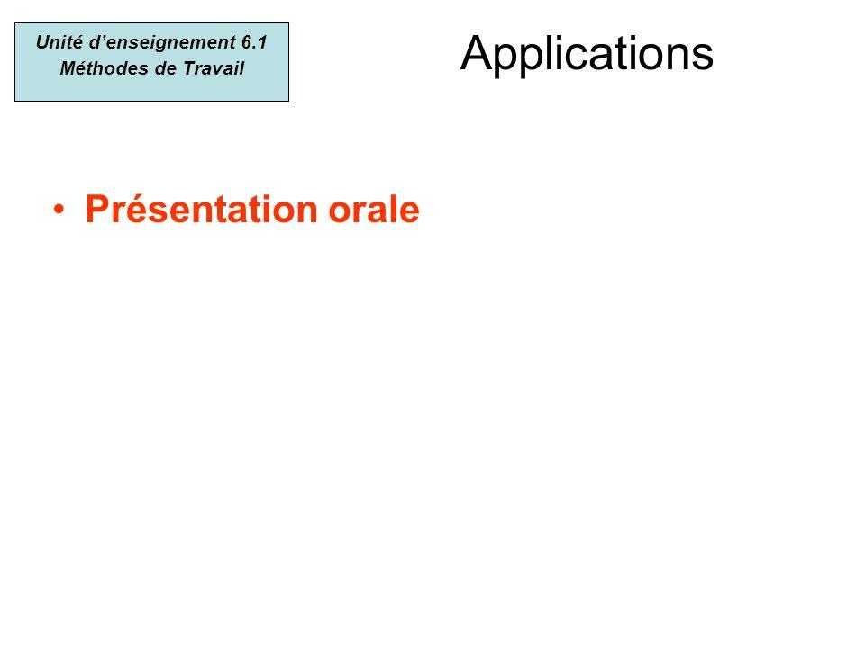 Applications Présentation orale Unité denseignement 6.1 Méthodes de Travail
