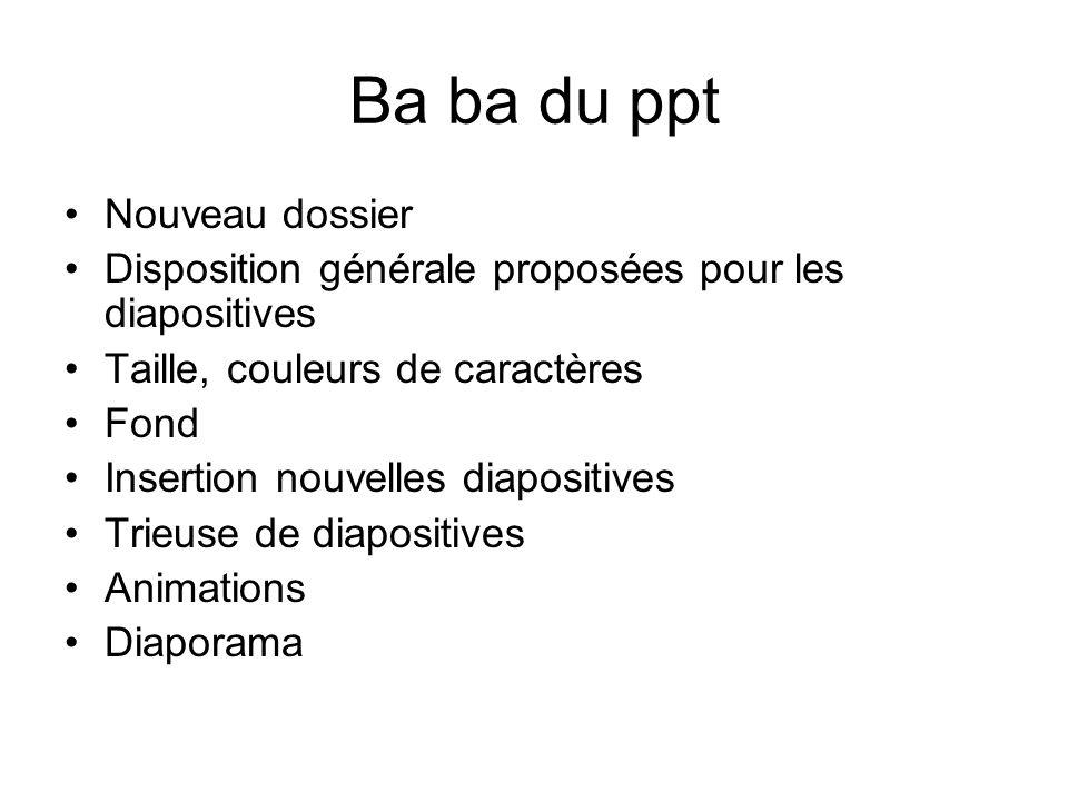 Ba ba du ppt Nouveau dossier Disposition générale proposées pour les diapositives Taille, couleurs de caractères Fond Insertion nouvelles diapositives