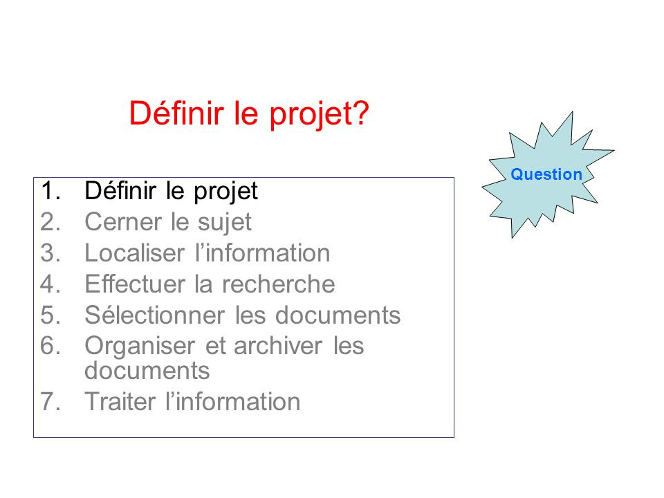 Question Définir le projet? 1.Définir le projet 2.Cerner le sujet 3.Localiser linformation 4.Effectuer la recherche 5.Sélectionner les documents 6.Org