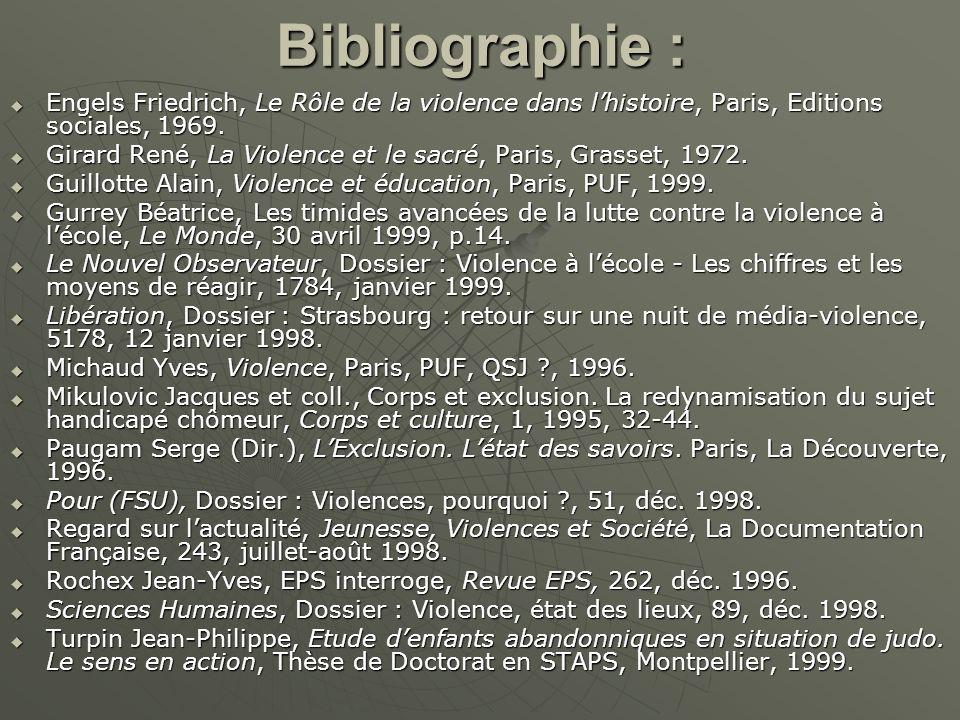 Bibliographie : Engels Friedrich, Le Rôle de la violence dans lhistoire, Paris, Editions sociales, 1969. Engels Friedrich, Le Rôle de la violence dans