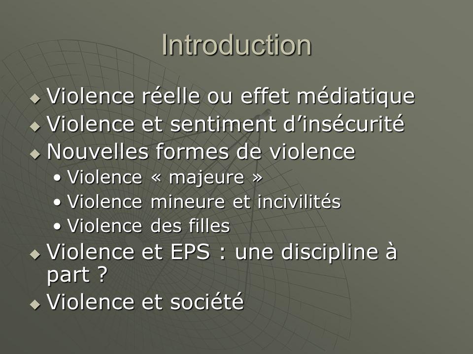 Introduction Violence réelle ou effet médiatique Violence réelle ou effet médiatique Violence et sentiment dinsécurité Violence et sentiment dinsécuri