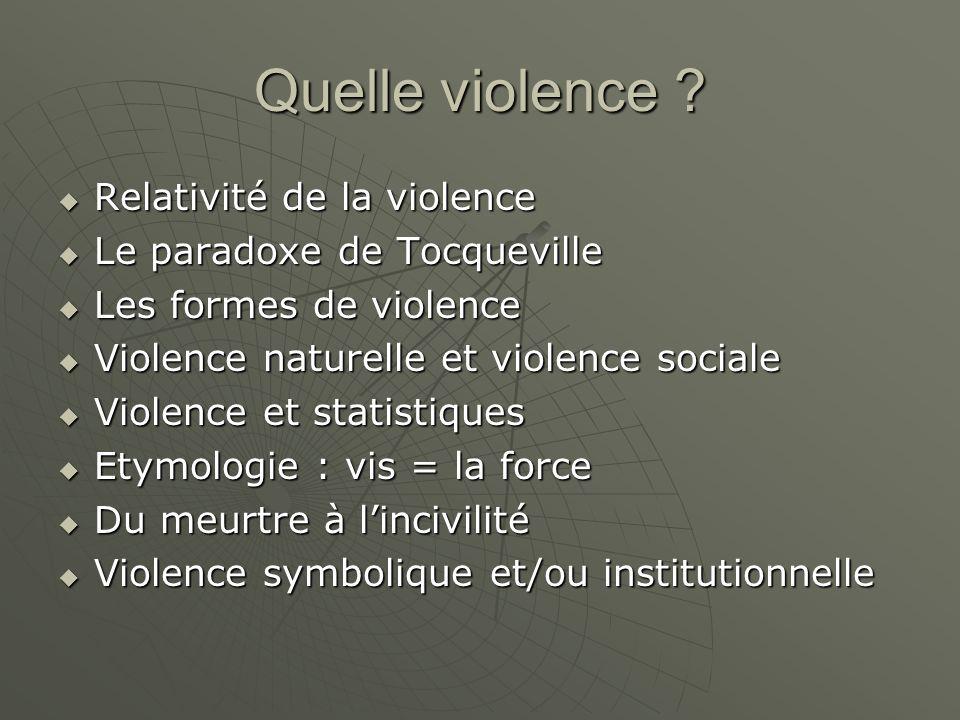 Quelle violence ? Relativité de la violence Relativité de la violence Le paradoxe de Tocqueville Le paradoxe de Tocqueville Les formes de violence Les