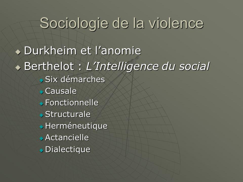 Sociologie de la violence Durkheim et lanomie Durkheim et lanomie Berthelot : LIntelligence du social Berthelot : LIntelligence du social Six démarche