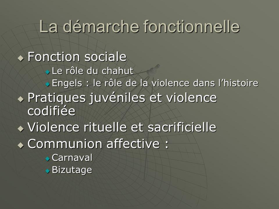 La démarche fonctionnelle Fonction sociale Fonction sociale Le rôle du chahut Le rôle du chahut Engels : le rôle de la violence dans lhistoire Engels