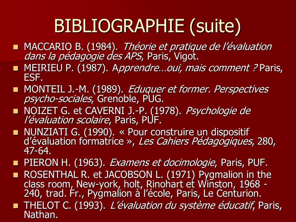 BIBLIOGRAPHIE (suite) MACCARIO B. (1984). Théorie et pratique de lévaluation dans la pédagogie des APS, Paris, Vigot. MACCARIO B. (1984). Théorie et p