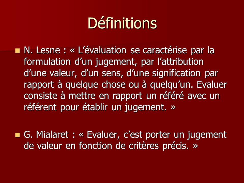 Définitions N. Lesne : « Lévaluation se caractérise par la formulation dun jugement, par lattribution dune valeur, dun sens, dune signification par ra