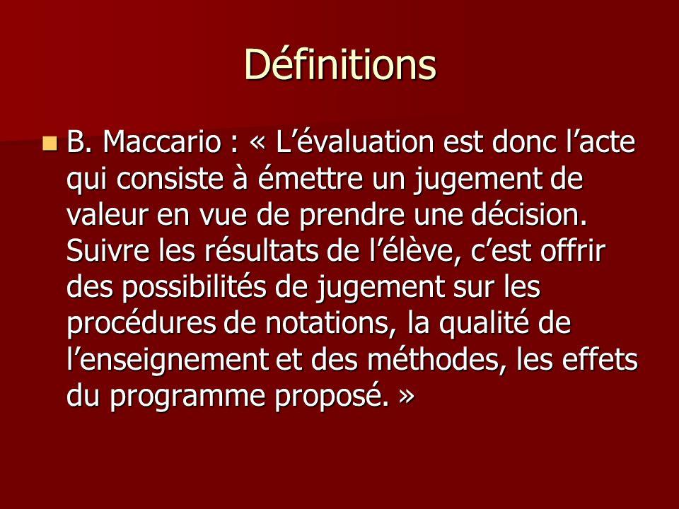 Définitions B. Maccario : « Lévaluation est donc lacte qui consiste à émettre un jugement de valeur en vue de prendre une décision. Suivre les résulta