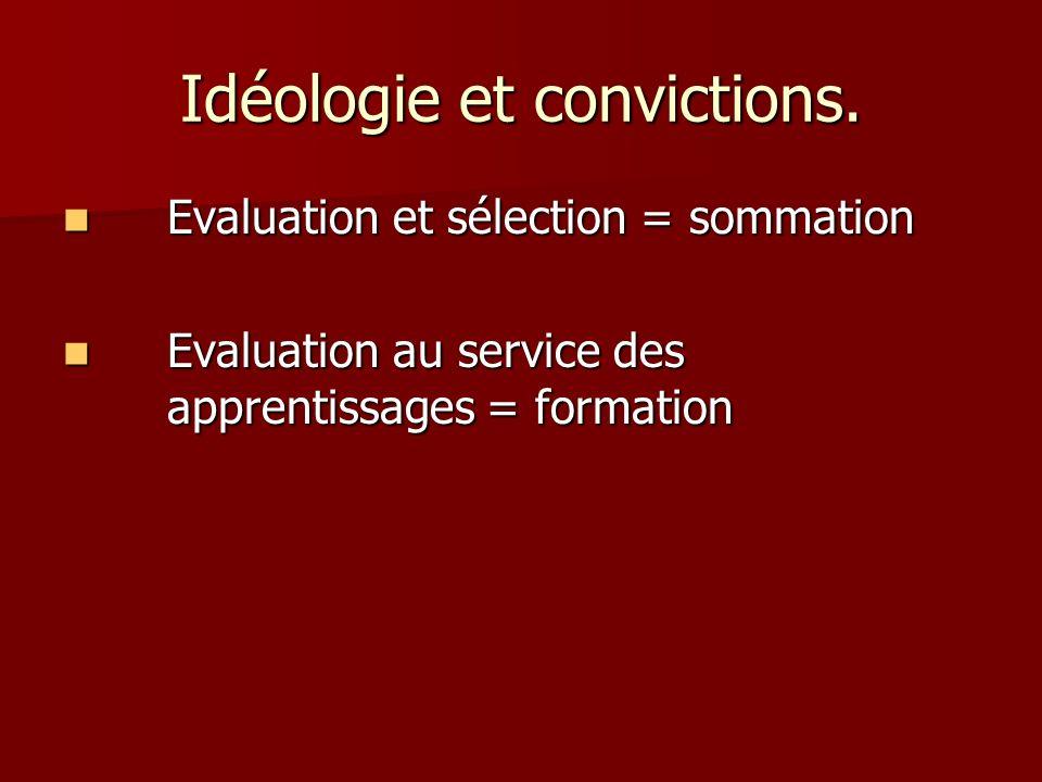 Idéologie et convictions. Evaluation et sélection = sommation Evaluation et sélection = sommation Evaluation au service des apprentissages = formation