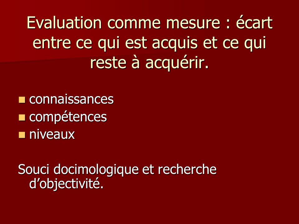 Evaluation comme mesure : écart entre ce qui est acquis et ce qui reste à acquérir. connaissances connaissances compétences compétences niveaux niveau