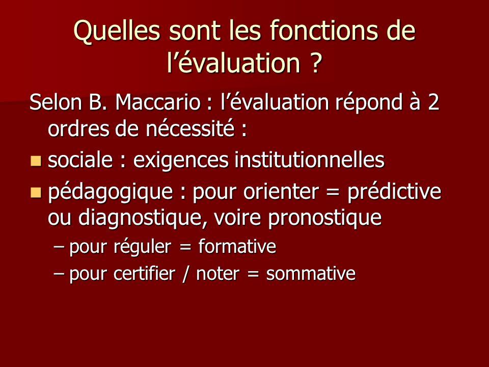 Quelles sont les fonctions de lévaluation ? Selon B. Maccario : lévaluation répond à 2 ordres de nécessité : sociale : exigences institutionnelles soc