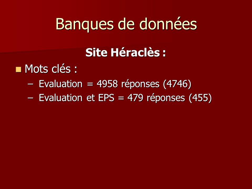 Banques de données Site Héraclès : Mots clés : Mots clés : – Evaluation = 4958 réponses (4746) – Evaluation et EPS = 479 réponses (455)