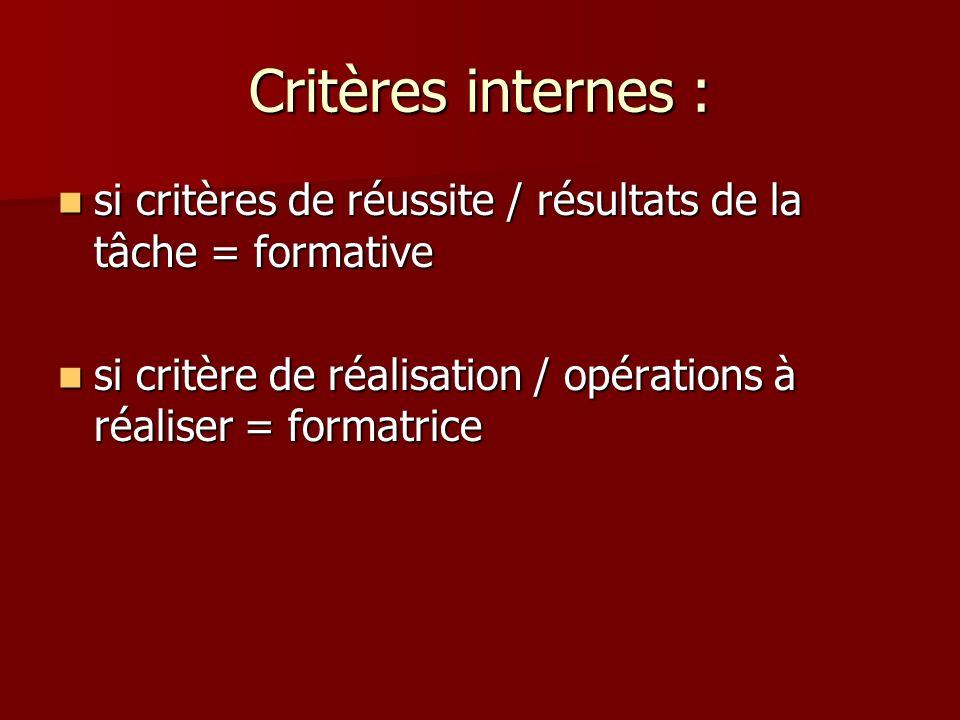 Critères internes : si critères de réussite / résultats de la tâche = formative si critères de réussite / résultats de la tâche = formative si critère