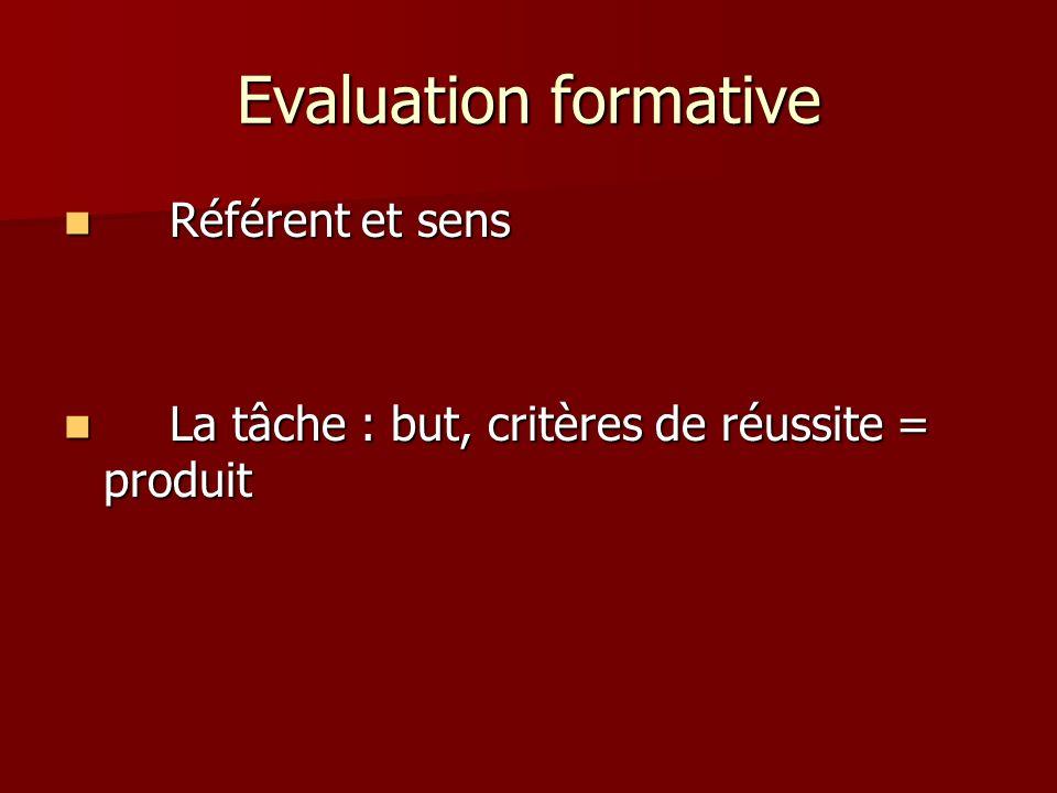 Evaluation formative Référent et sens Référent et sens La tâche : but, critères de réussite = produit La tâche : but, critères de réussite = produit