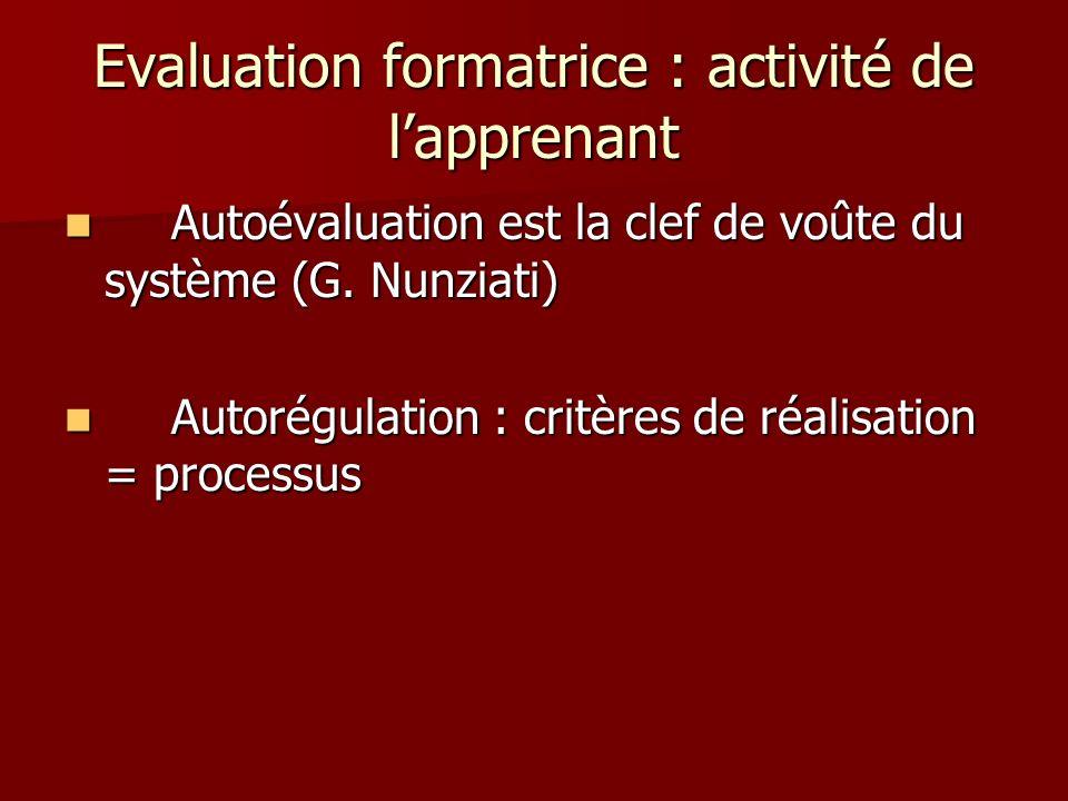 Evaluation formatrice : activité de lapprenant Autoévaluation est la clef de voûte du système (G. Nunziati) Autoévaluation est la clef de voûte du sys