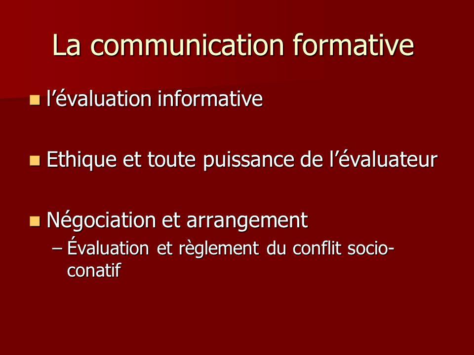 La communication formative La communication formative lévaluation informative lévaluation informative Ethique et toute puissance de lévaluateur Ethiqu