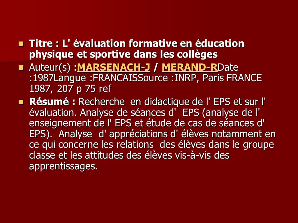 Titre : Vers un programme d EPS Titre : Vers un programme d EPS Auteur(s) :PINEAU-MDate :1989Langue :FRANCAISSource :Hyper FRANCE 1989, n 164, p 4, 1 p Auteur(s) :PINEAU-MDate :1989Langue :FRANCAISSource :Hyper FRANCE 1989, n 164, p 4, 1 pPINEAU-M Résumé : Il est nécessaire de définir le programme en EPS lorsque, l on pose le problème des relations entre le sport et l EPS.