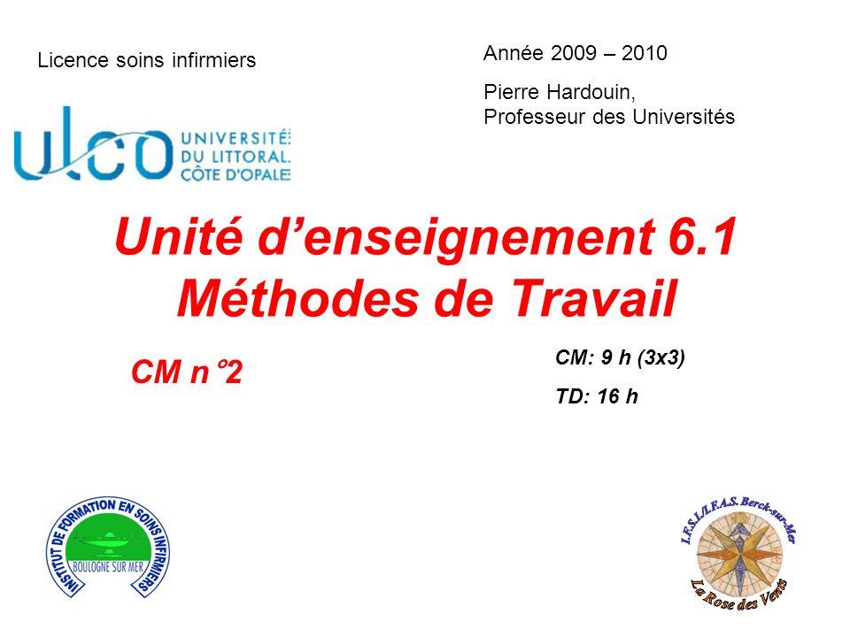 Unité denseignement 6.1 Méthodes de Travail CM: 9 h (3x3) TD: 16 h Licence soins infirmiers Année 2009 – 2010 Pierre Hardouin, Professeur des Universi