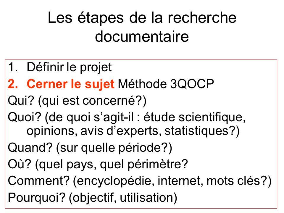 Les étapes de la recherche documentaire 1.Définir le projet 2.Cerner le sujet Méthode 3QOCP Qui? (qui est concerné?) Quoi? (de quoi sagit-il : étude s