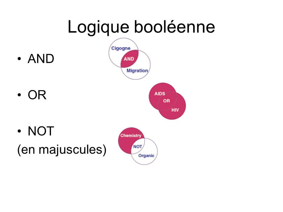 Logique booléenne AND OR NOT (en majuscules)