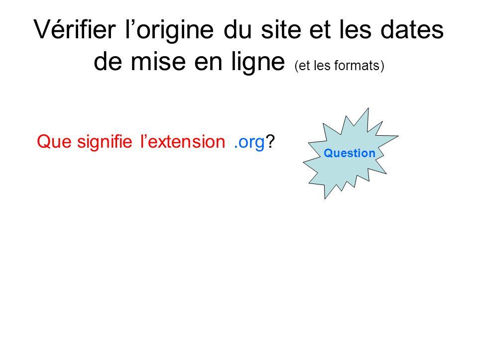 Vérifier lorigine du site et les dates de mise en ligne (et les formats) Question Que signifie lextension.org?