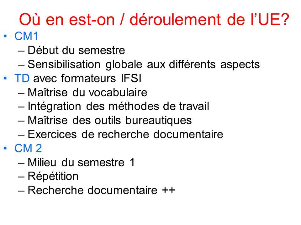 Où en est-on / déroulement de lUE? CM1 –Début du semestre –Sensibilisation globale aux différents aspects TD avec formateurs IFSI –Maîtrise du vocabul