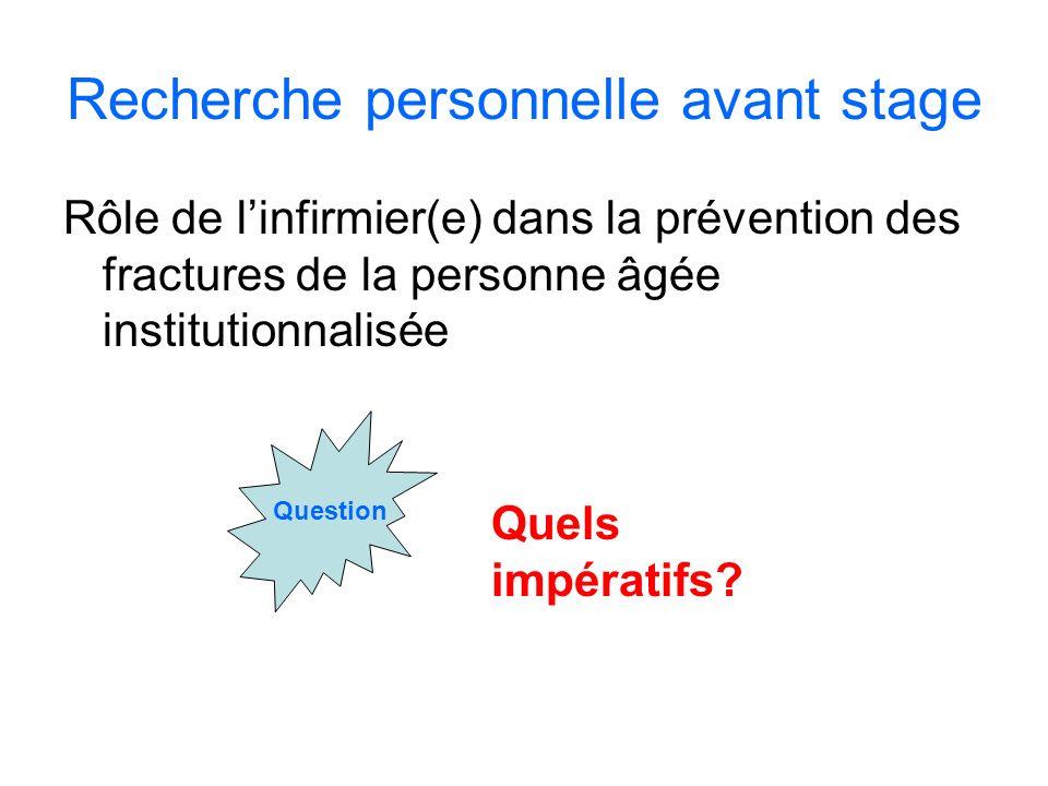 Recherche personnelle avant stage Rôle de linfirmier(e) dans la prévention des fractures de la personne âgée institutionnalisée Question Quels impérat