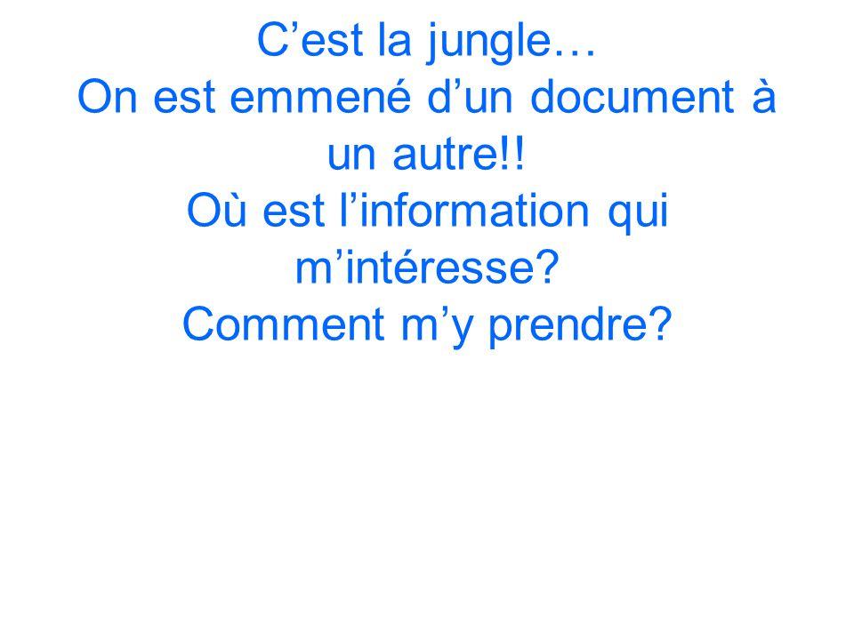 Cest la jungle… On est emmené dun document à un autre!! Où est linformation qui mintéresse? Comment my prendre?