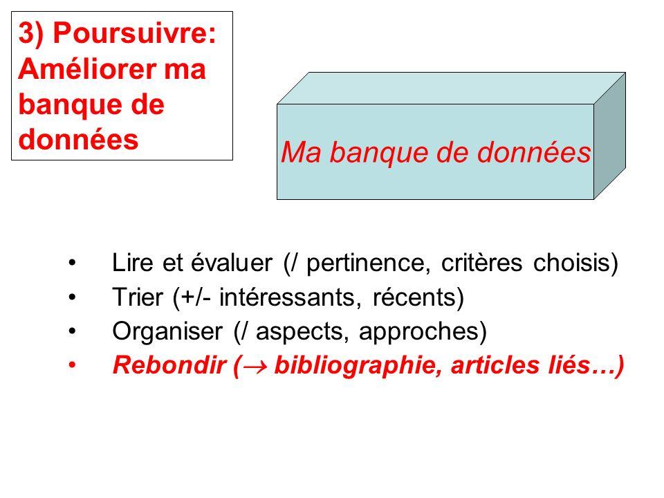 Lire et évaluer (/ pertinence, critères choisis) Trier (+/- intéressants, récents) Organiser (/ aspects, approches) Rebondir ( bibliographie, articles