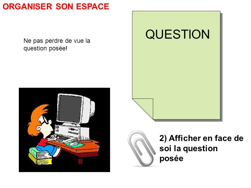 ORGANISER SON ESPACE 2) Afficher en face de soi la question posée QUESTION Ne pas perdre de vue la question posée!