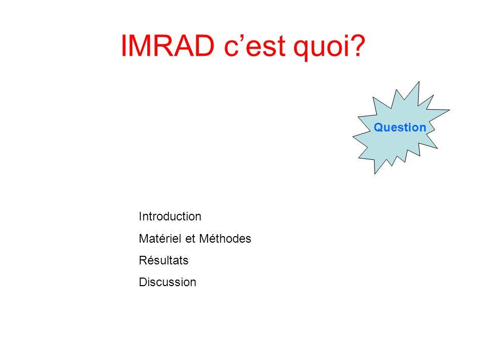 IMRAD cest quoi? Question Introduction Matériel et Méthodes Résultats Discussion