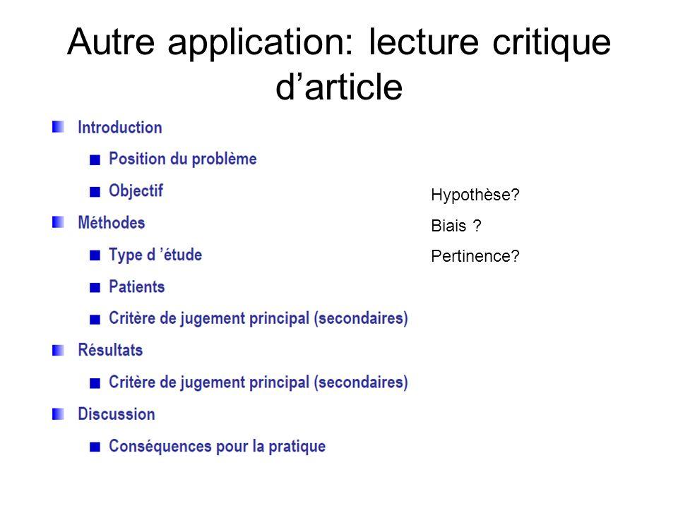 Autre application: lecture critique darticle Hypothèse? Biais ? Pertinence?