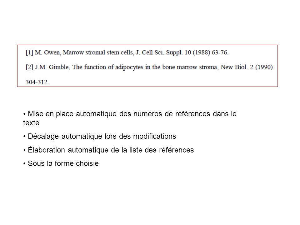 Mise en place automatique des numéros de références dans le texte Décalage automatique lors des modifications Élaboration automatique de la liste des