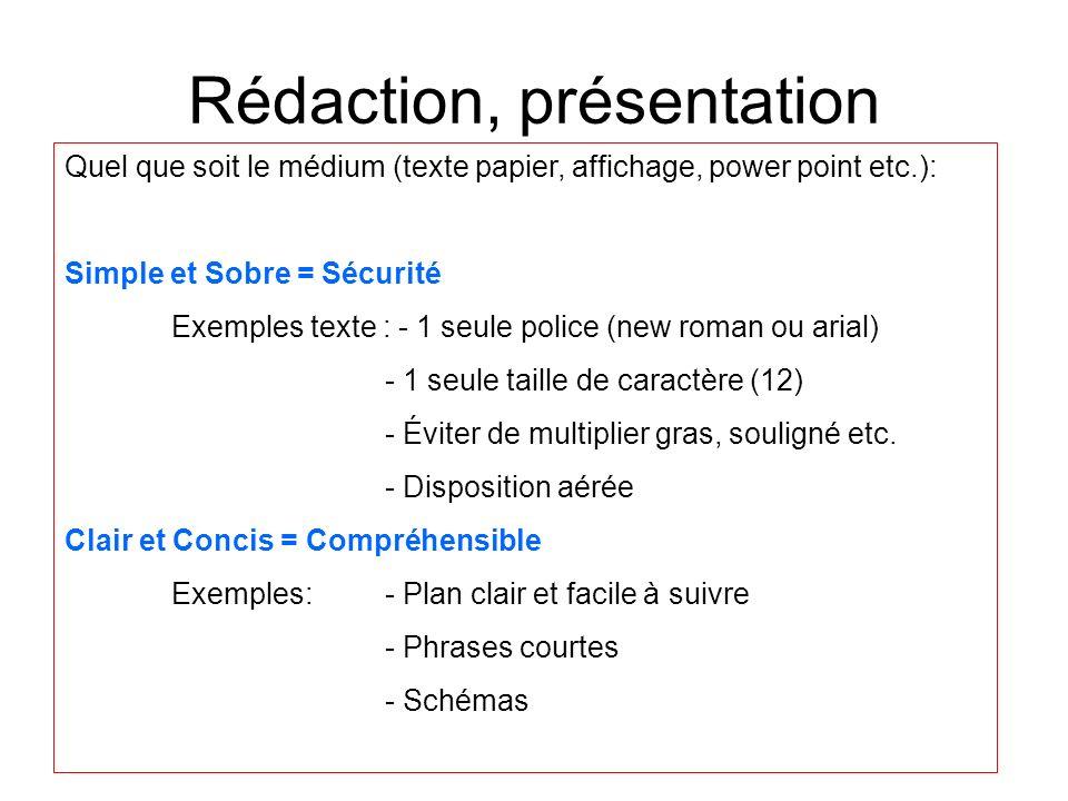 Rédaction, présentation Quel que soit le médium (texte papier, affichage, power point etc.): Simple et Sobre = Sécurité Exemples texte : - 1 seule pol