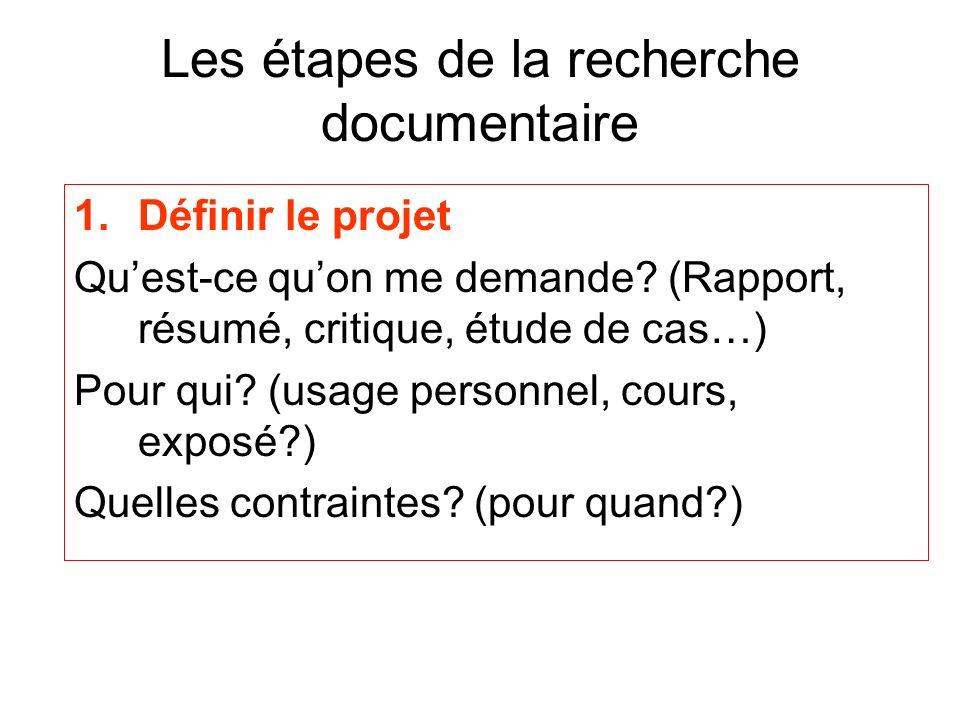 Les étapes de la recherche documentaire 1.Définir le projet Quest-ce quon me demande? (Rapport, résumé, critique, étude de cas…) Pour qui? (usage pers