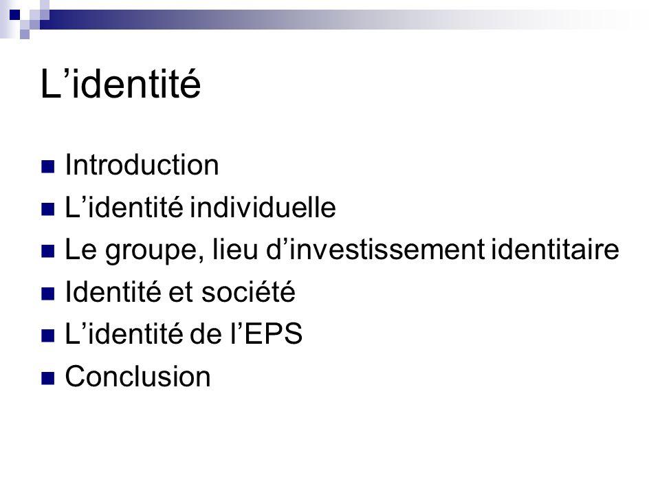 Le groupe, lieu dinvestissement identitaire Construction de lidentité dans linteraction sociale Lidentification Lintégration Les stratégies identitaires Adoption Synthèse Syncrétisme Séparation