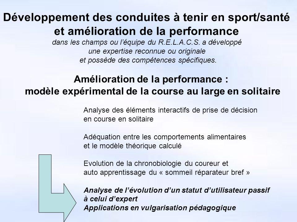 Développement des conduites à tenir en sport/santé et amélioration de la performance dans les champs ou léquipe du R.E.L.A.C.S.