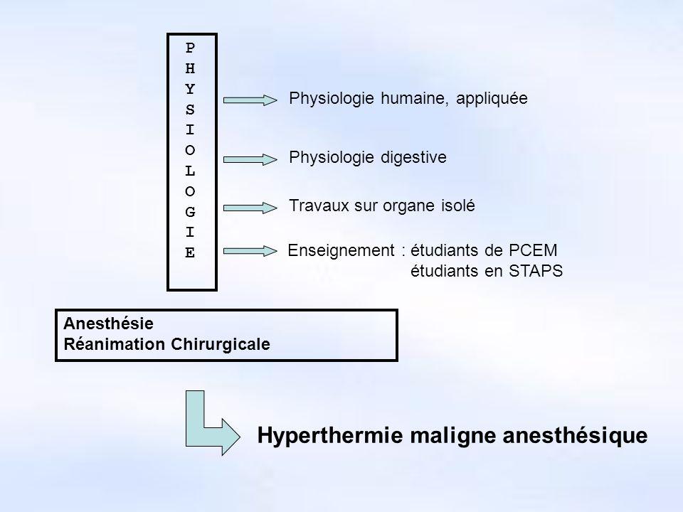 Hyperthermie maligne anesthésique Pathologie souvent mortelle survenant au cours dune anesthésie générale utilisant des agents halogénés Elle est caractérisée par une rigidité musculaire « irréversible » Des modèles détudes sont développés par les Canadiens (Britt) et les Anglais (Ellis) à partir de prélèvements musculaires.