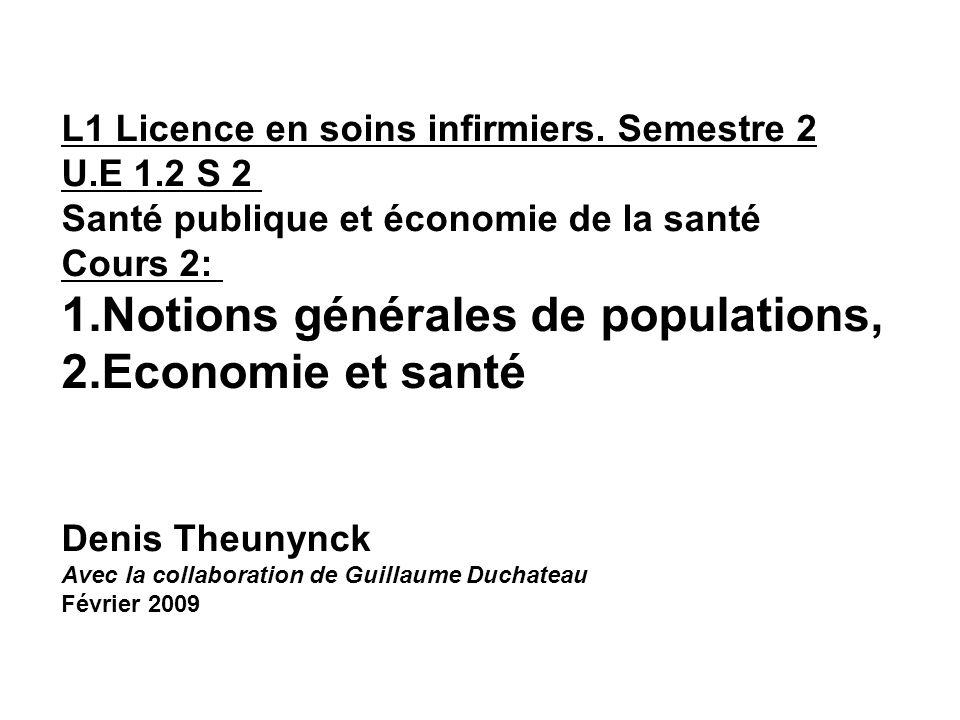 L1 Licence en soins infirmiers. Semestre 2 U.E 1.2 S 2 Santé publique et économie de la santé Cours 2: 1.Notions générales de populations, 2.Economie