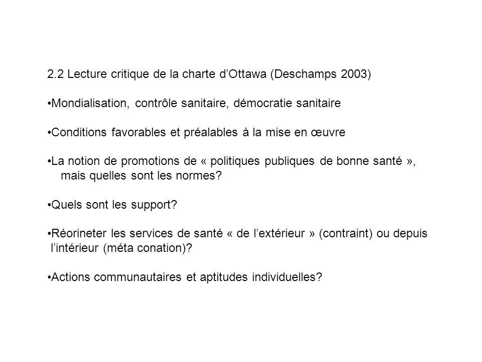 2.2 Lecture critique de la charte dOttawa (Deschamps 2003) Mondialisation, contrôle sanitaire, démocratie sanitaire Conditions favorables et préalable
