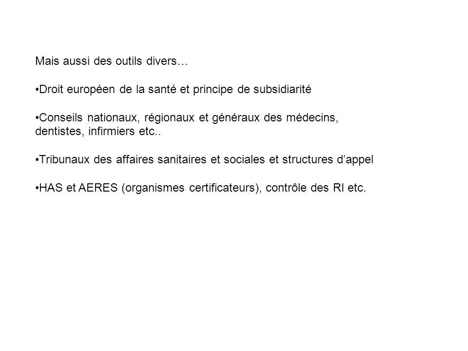 Mais aussi des outils divers… Droit européen de la santé et principe de subsidiarité Conseils nationaux, régionaux et généraux des médecins, dentistes