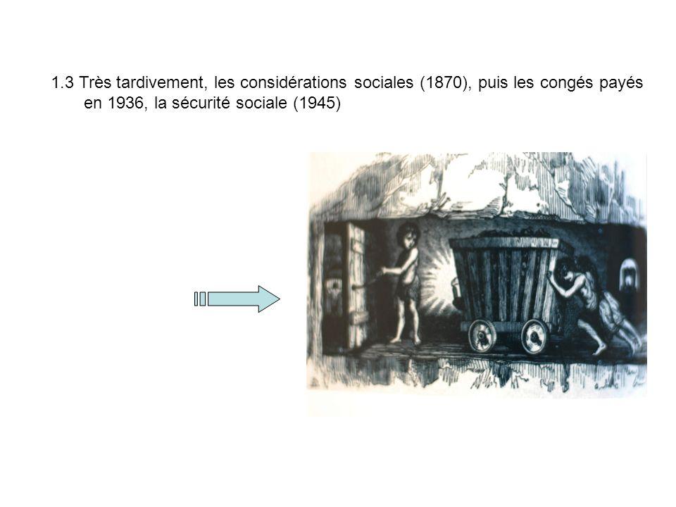 1.3 Très tardivement, les considérations sociales (1870), puis les congés payés en 1936, la sécurité sociale (1945)