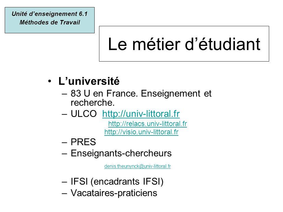 Le métier détudiant Luniversité –83 U en France. Enseignement et recherche. –ULCO http://univ-littoral.frhttp://univ-littoral.fr http://relacs.univ-li
