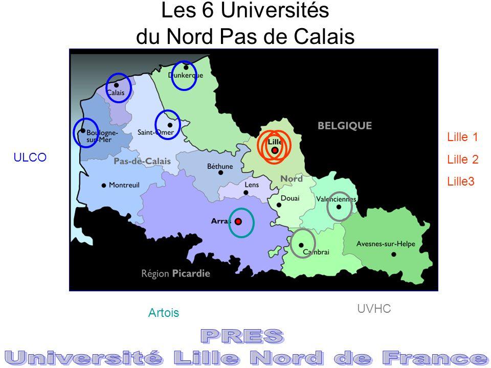 Les 6 Universités du Nord Pas de Calais Lille 1 Lille 2 Lille3 ULCO Artois UVHC