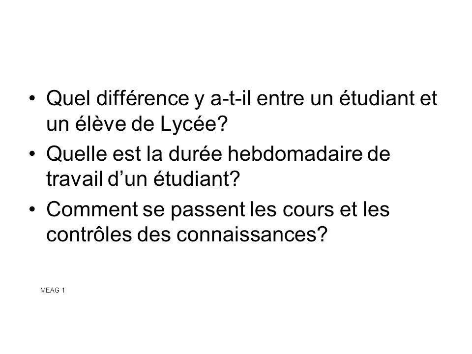 MEAG 1 Quel différence y a-t-il entre un étudiant et un élève de Lycée? Quelle est la durée hebdomadaire de travail dun étudiant? Comment se passent l
