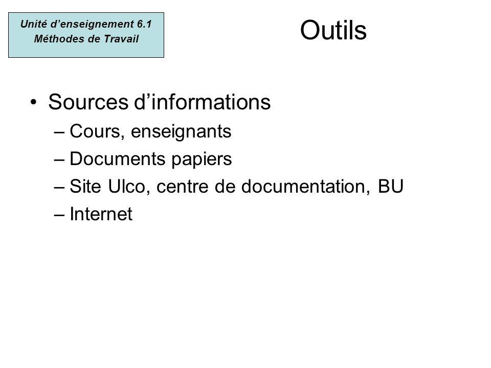 Outils Sources dinformations –Cours, enseignants –Documents papiers –Site Ulco, centre de documentation, BU –Internet Unité denseignement 6.1 Méthodes