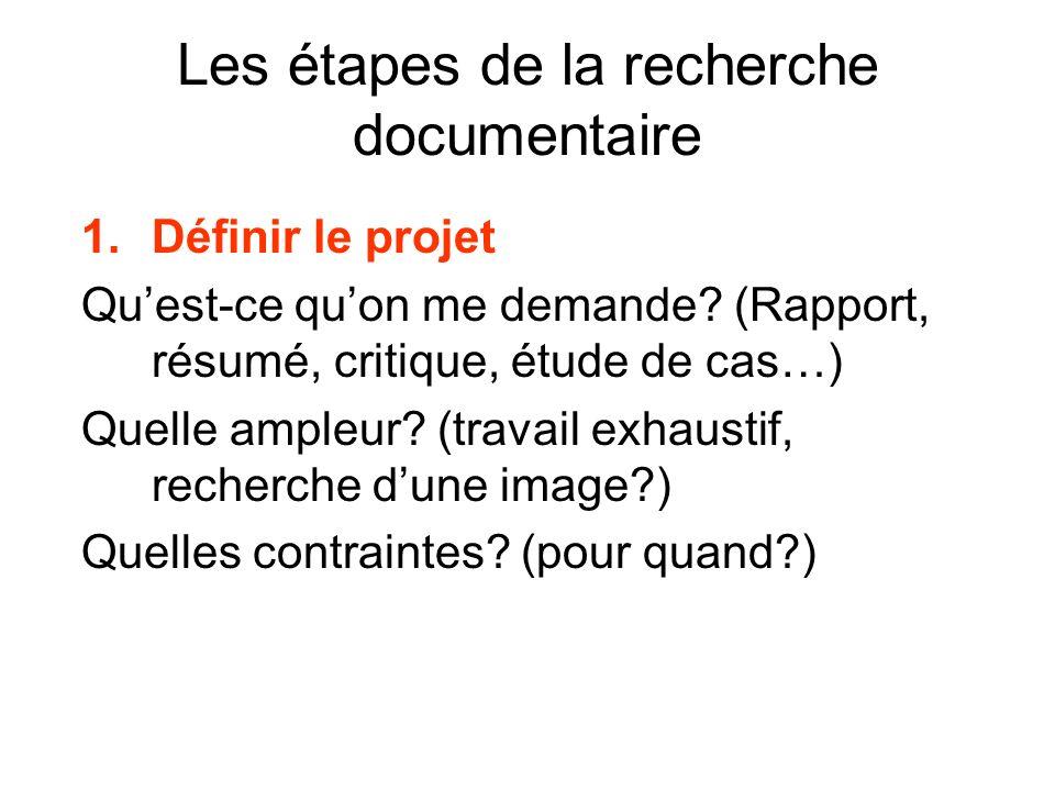 Les étapes de la recherche documentaire 1.Définir le projet Quest-ce quon me demande? (Rapport, résumé, critique, étude de cas…) Quelle ampleur? (trav