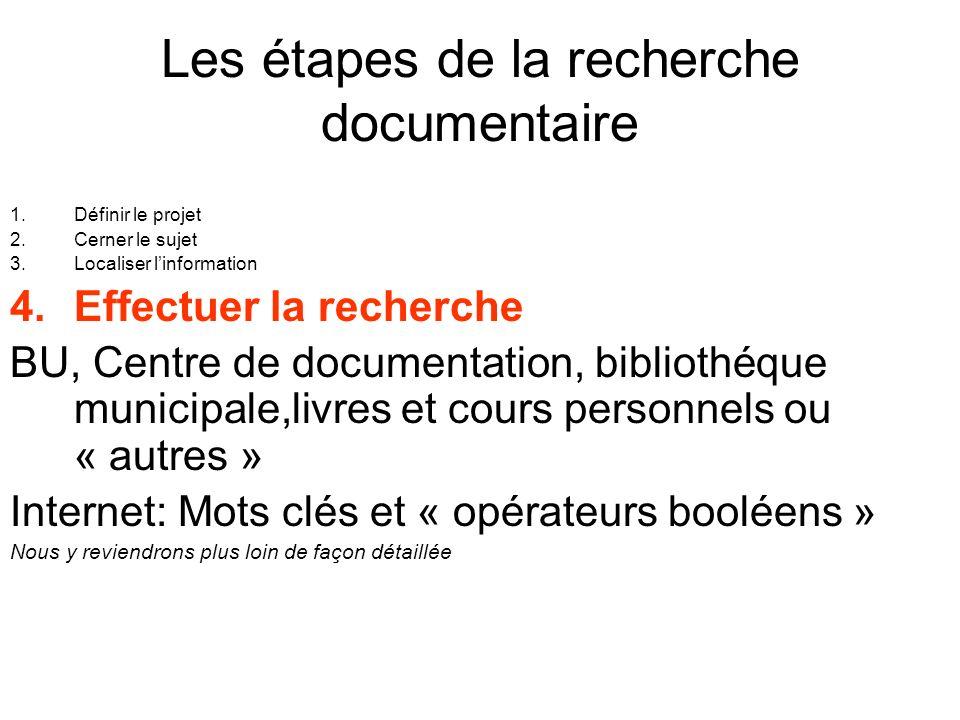 Les étapes de la recherche documentaire 1.Définir le projet 2.Cerner le sujet 3.Localiser linformation 4.Effectuer la recherche BU, Centre de document