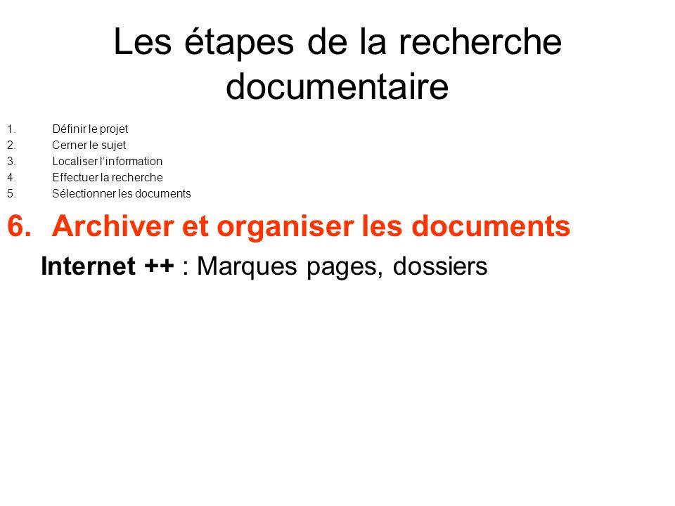 Les étapes de la recherche documentaire 1.Définir le projet 2.Cerner le sujet 3.Localiser linformation 4.Effectuer la recherche 5.Sélectionner les doc