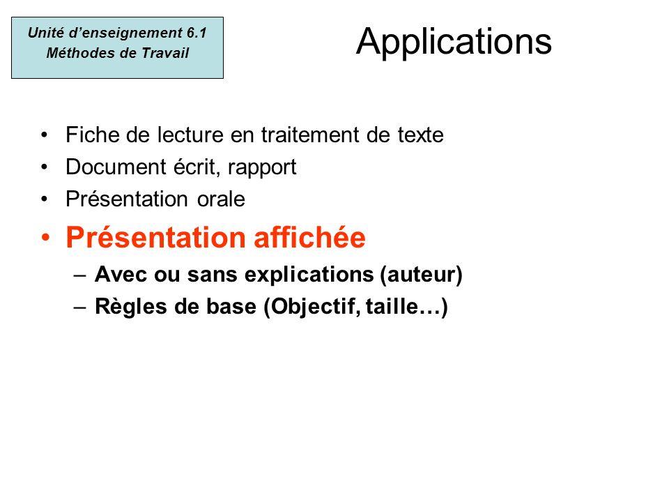 Applications Fiche de lecture en traitement de texte Document écrit, rapport Présentation orale Présentation affichée –Avec ou sans explications (aute