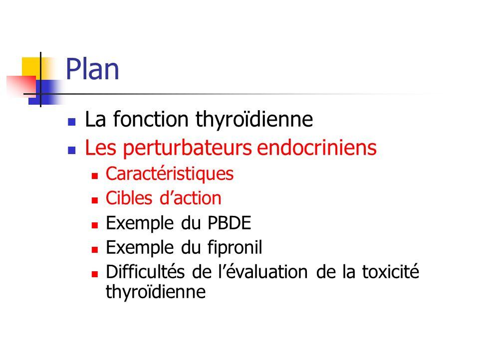Plan La fonction thyroïdienne Les perturbateurs endocriniens Caractéristiques Cibles daction Exemple du PBDE Exemple du fipronil Difficultés de lévalu